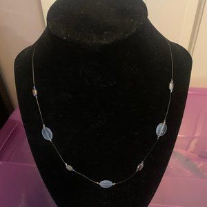 Vintage Illusion Necklace with Blue & Silver Beads